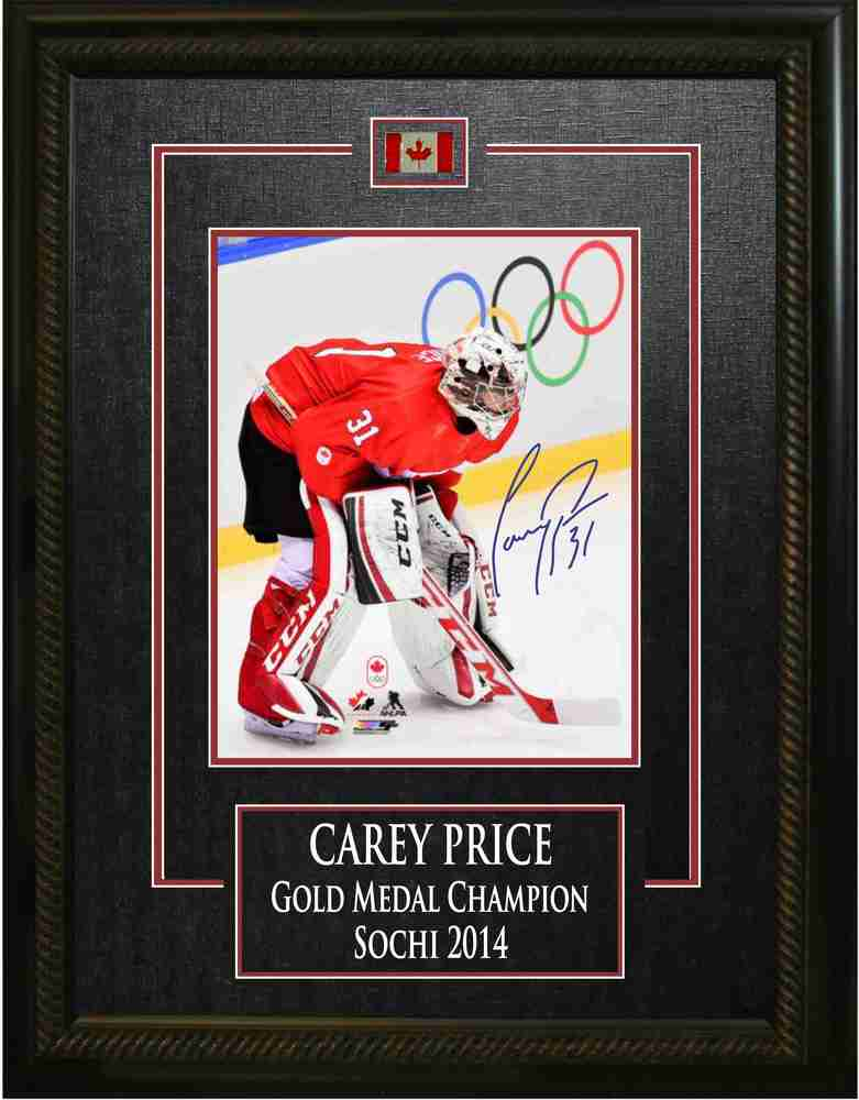 Carey Price - Signed & Framed 8x10 Etched Mat - Next To Olympic Rings - Team Canada