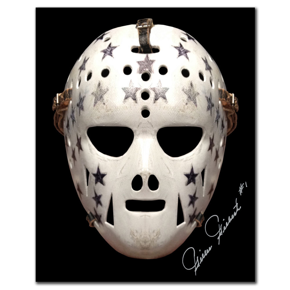 Gilles Gilbert Boston Bruins Mask Autographed 8x10