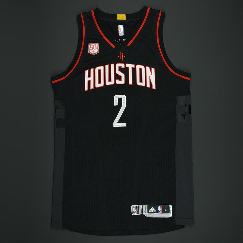 new product b2ad4 ff701 Patrick Beverley - Houston Rockets - Black Playoffs w/ 50th ...