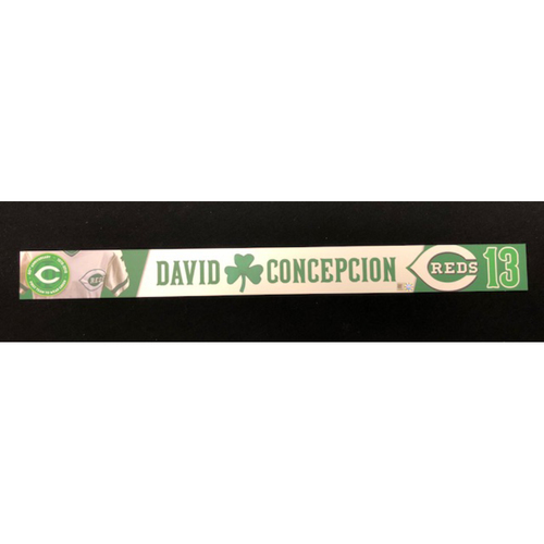 Photo of David Concepcion -- Reds 40th Anniversary St. Patrick's Day Locker Name Placard -- Team-Issued