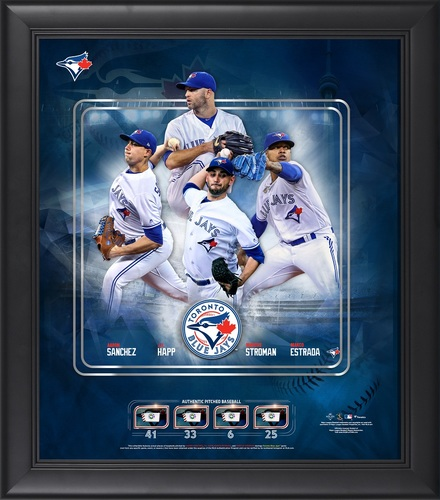 "Photo of Toronto Blue Jays Framed 15"" by 17"" 4 Aces with Pieces of Game Used Baseballs by Fanatics"