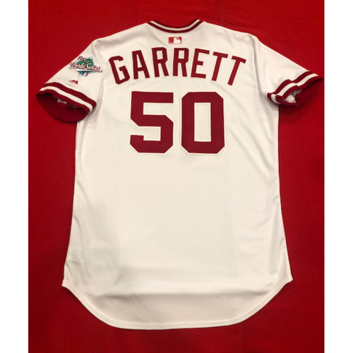 Photo of Amir Garrett -- Team Issued 1990 Throwback Jersey -- Cardinals vs. Reds on Aug. 18, 2019 -- Jersey Size 48