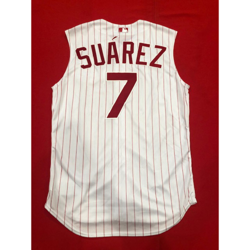 Photo of Eugenio Suarez -- Game-Used 1995 Throwback Jersey (Starting 3B: Went 3-for-4, 2 HR, 3 RBI, 2 R) -- 7th Career Multi-HR Game -- D-backs vs. Reds on Sept. 8, 2019 -- Jersey Size 46