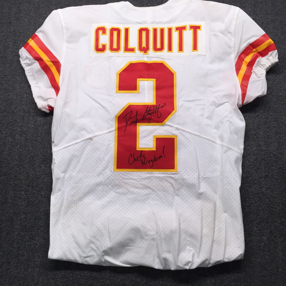NFL Auction | NFL - Chiefs Dustin Colquitt Signed Game Used Jersey ...