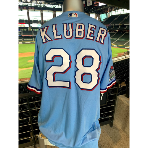 Photo of Corey Kluber Game-Used Powder Blue Jersey - 1st Start as a Member of The Texas Rangers - 1 Inning Pitched (7/26/20)
