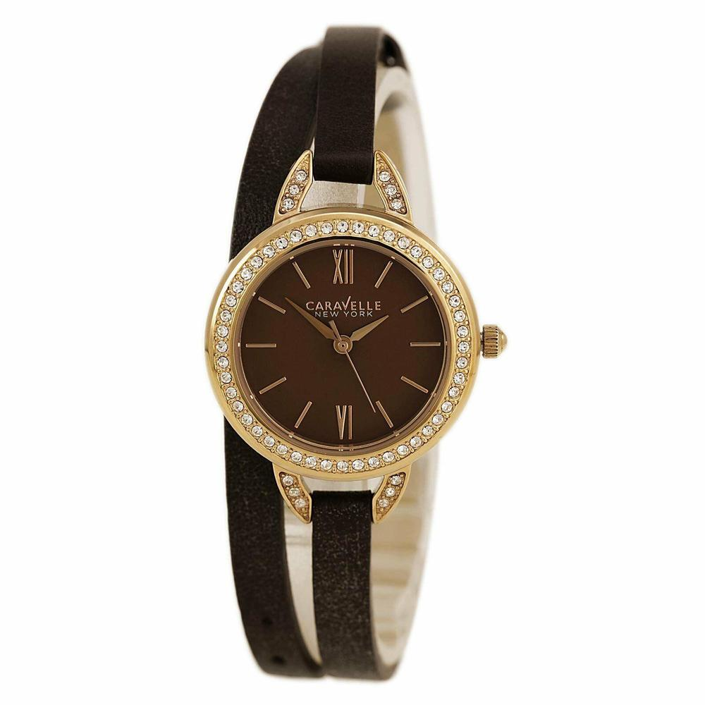 Photo of Caravelle New York by Bulova Womens Brown Dial Leather Strap Watch