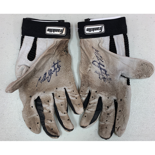 Photo of Team Issued Autographed Batting Gloves - signed by #5 Mike Yastrzemski - White & Black Franklin Batting Gloves
