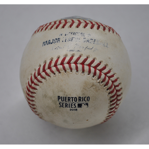Photo of Game-Used Baseball - 2018 Puerto Rico Series - 4/18/2018 - Cleveland Indians vs. Minnesota Twins - Bot 6 - Pitcher: Carlos Carrasco, Batter: Joe Mauer - Groundout to RF, Batter: Miguel Sano - Foul