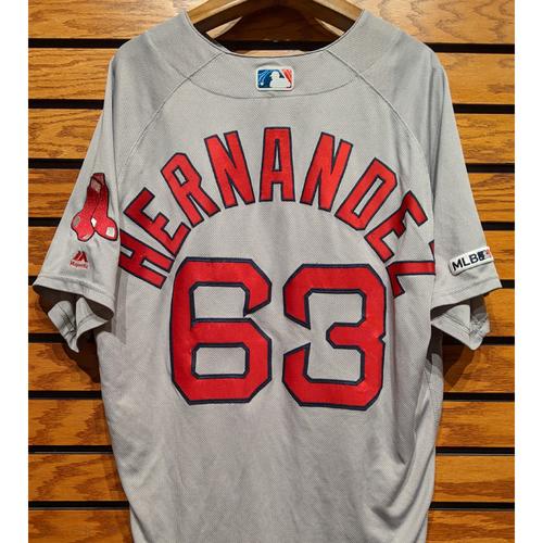 Photo of Darwinzon Hernandez #63 Game Used Road Gray Jersey
