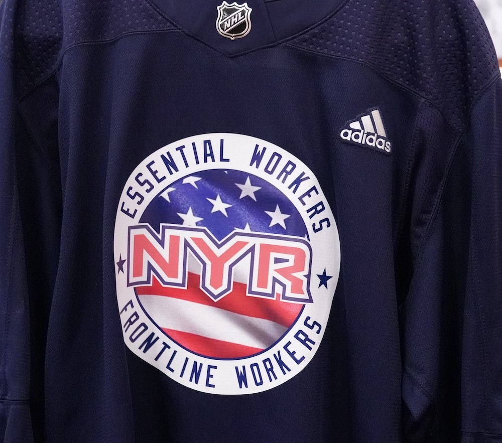 Autographed Essential Workers Night Warm-Up Jersey: #79 K'Andre Miller- New York Rangers