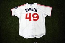 Photo of #49 Game Worn Home Jersey, Size 48, worn by Luke Barker.