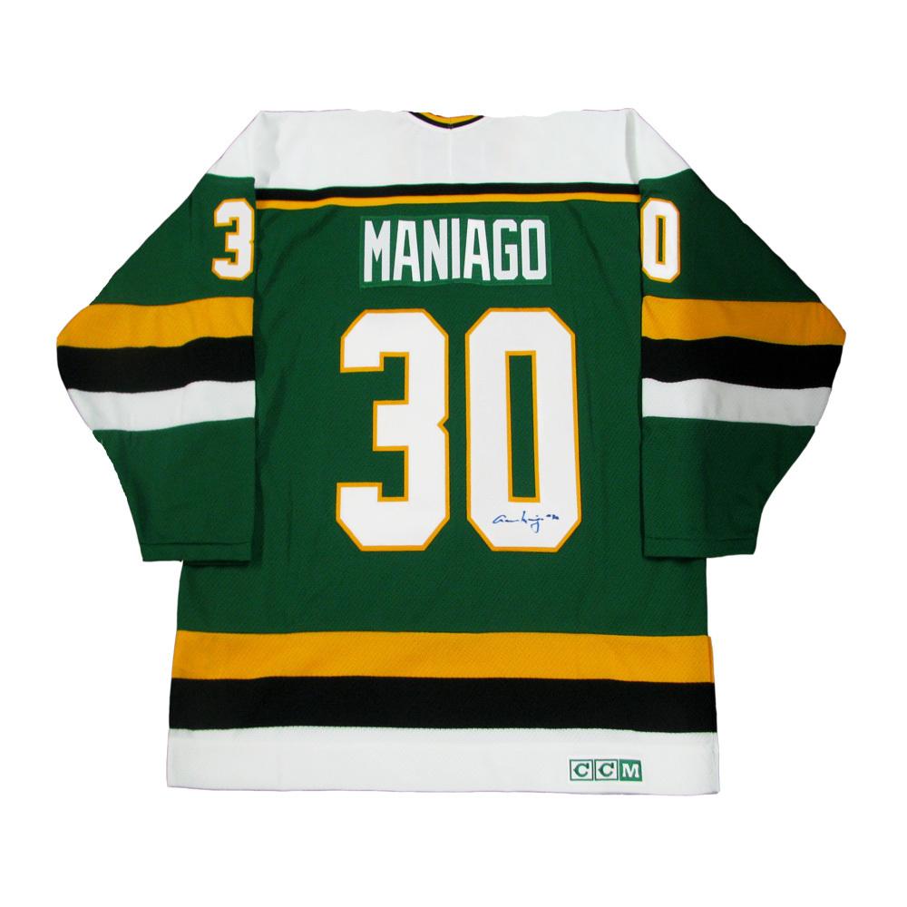 CESARE MANIAGO Signed Minnesota North Stars Green CCM Jersey