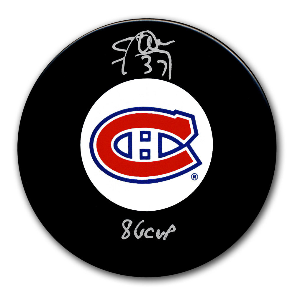 Steve Penney Montreal Canadiens 1986 Cup Autographed Puck