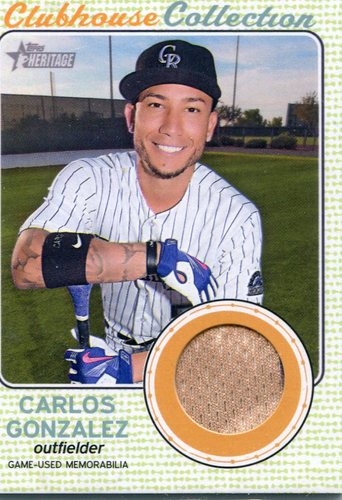 Photo of 2017 Topps Heritage Clubhouse Collection Relics Carlos Gonzalez
