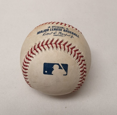 Photo of Authenticated Game Used Baseball - Jon Berti Foul Ball against Cionel Perez (September 26, 2018 vs HOU). Bottom 5. MLB Debut for Jon Berti.