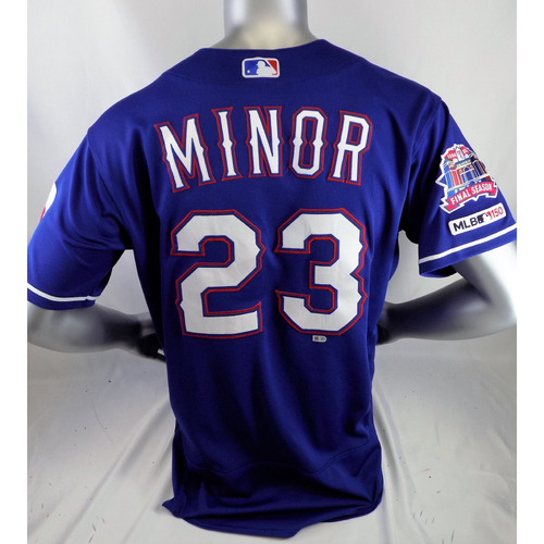 Mike Minor Game-Used Blue Jersey - 4/27/19 @ SEA, Pitched Complete Game - 6/26/19 @ DET