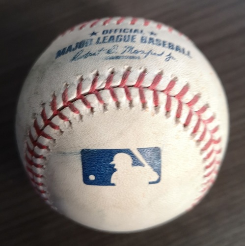 Photo of Authenticated Game Used Baseball: Strikeout by Trevor Bauer against Justin Smoak (Jul 23, 19 vs CLE). Bottom 4. Also used for 2 pitches to Biggio.