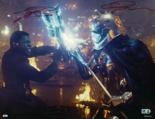 Gwendoline Christie and John Boyega As Captain Phasma and Finn 11X14 AUTOGRAPHED IN 'Red' INK PHOTO