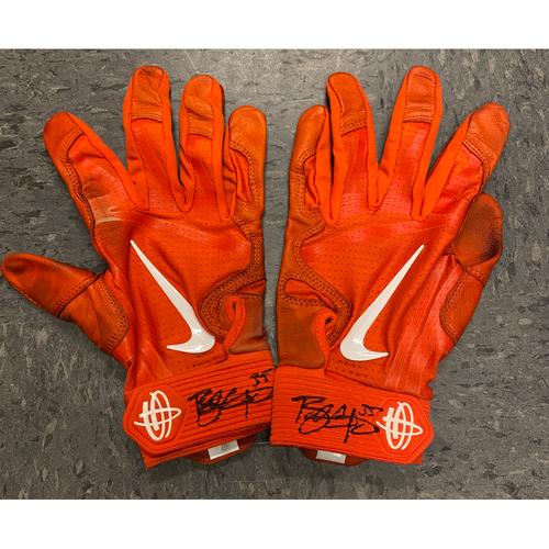 Photo of 2019 Holiday Sale - 2019 Team Issued Autographed Batting Gloves - #35 Brandon Crawford - Orange Nike Batting Gloves