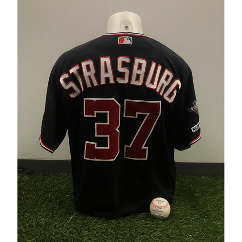 Photo of Stephen Strasburg Game-Used Jersey and Pitched Baseball - June 4, 2019 - 100th Career Win