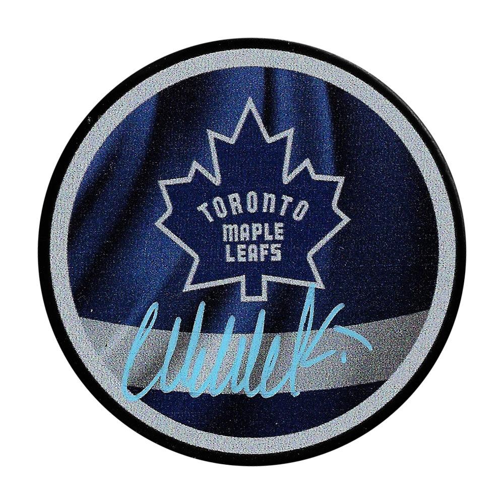 Wendel Clark Autographed Toronto Maple Leafs Reverse Retro Puck
