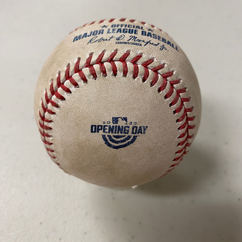 Photo of 2020 Game Used Opening Day Baseball used on 7/28 vs. SD - B-6: Matt Strahm to Wilmer Flores - Foul Ball