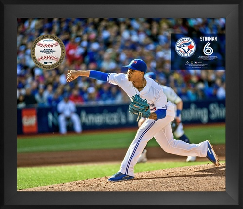 "Photo of Toronto Blue Jays Framed 20"" by 24"" Marcus Stroman Gamebreaker with Opening for Game Used Baseball by Fanatics"