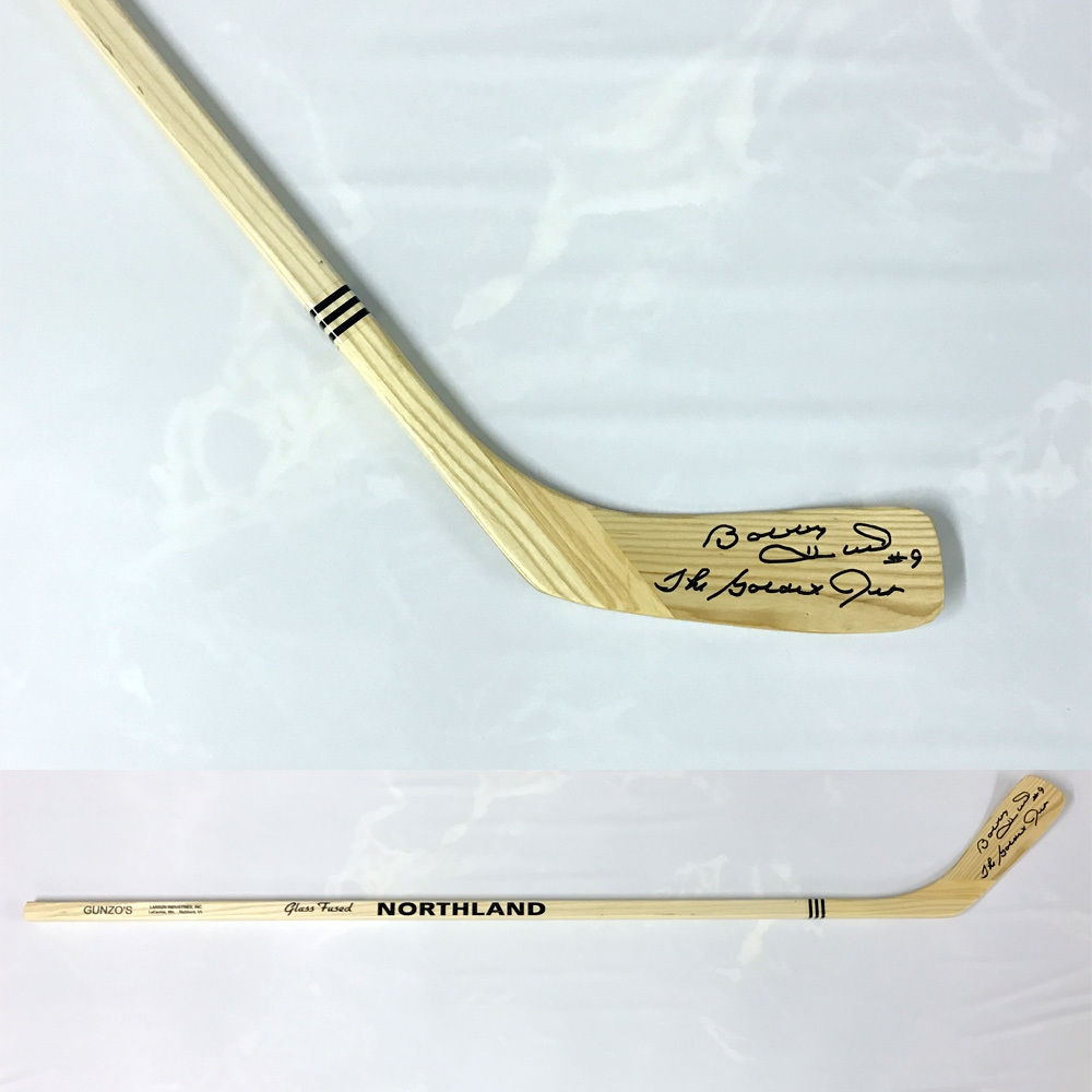 BOBBY HULL Signed Northland Stick W/Golden Jet Inscription - Chicago Blackhawks