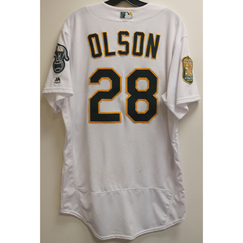 Photo of Matt Olson Game-Used Jersey: No Hitter 4/21/18 vs BOS