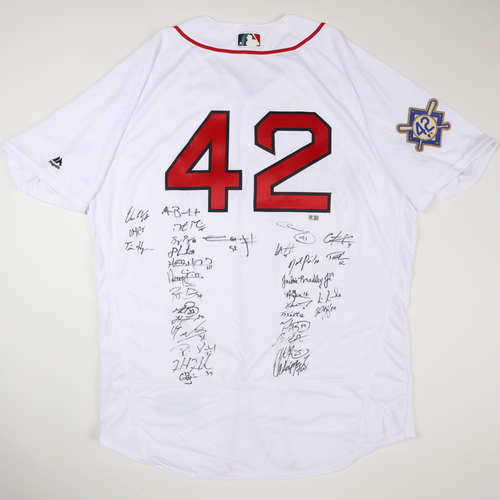 Photo of 2019 Jackie Robinson Day Jersey - Boston Red Sox Team Autographed Jersey