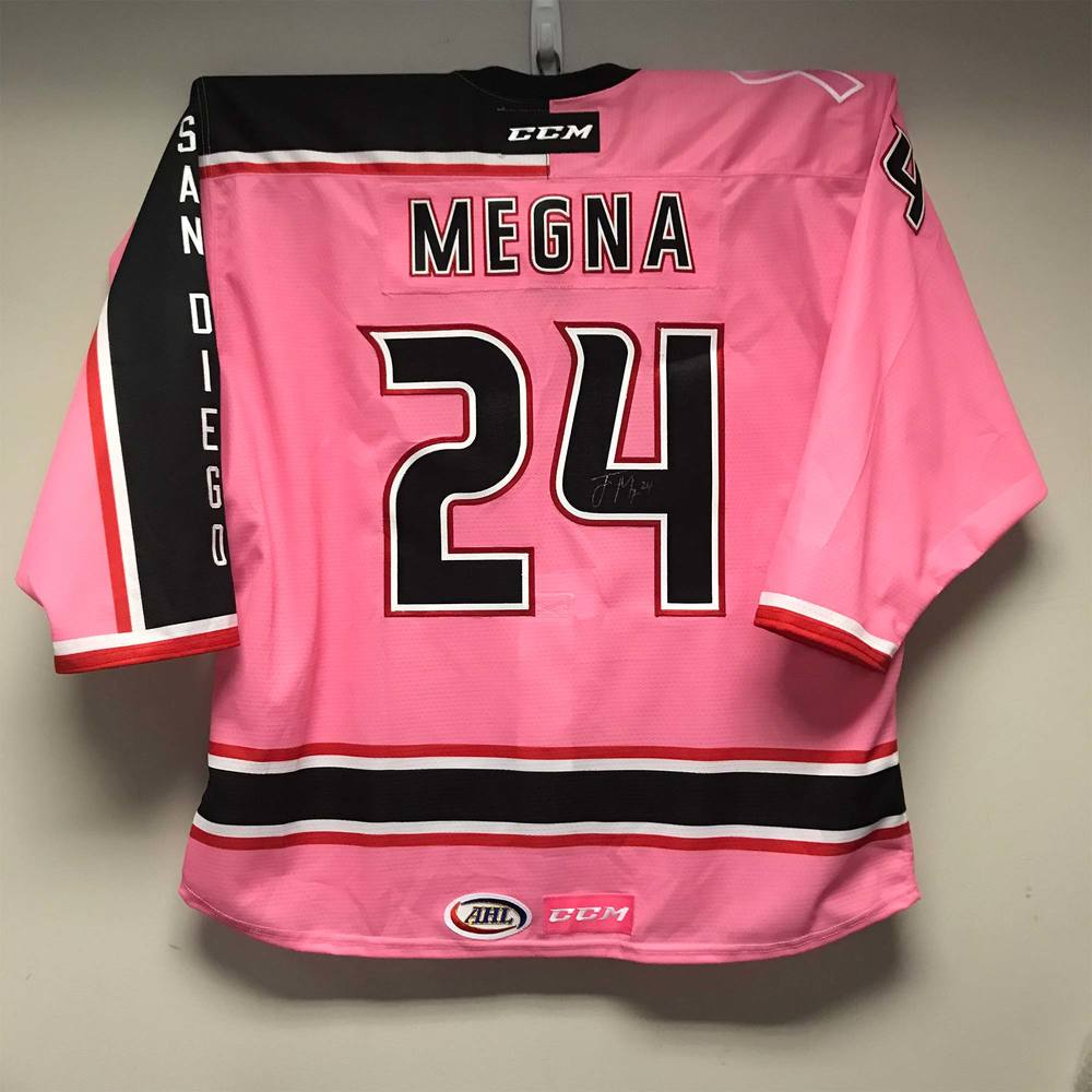 San Diego Gulls Pink in the Rink Jersey issued to and signed by #24 Jaycob Megna