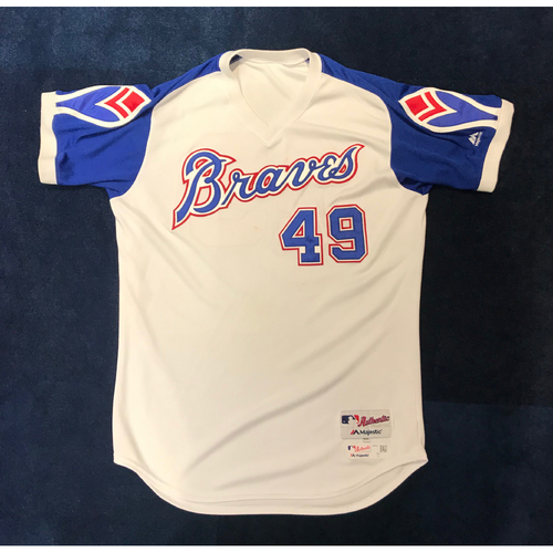 Photo of Julio Teheran (Team-Issued or Game-Used) 2019 Atlanta Braves Hank Aaron Weekend 1974 Throwback Jersey