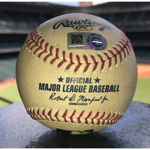 Photo of Game-Used Baseball: 7/24/19 Astros vs Athletics, Chris Bassitt to Michael Brantley (Strikeout) and Yordan Alvarez (Ball)