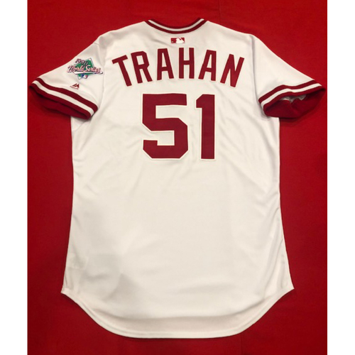Photo of Blake Trahan -- Team Issued 1990 Throwback Jersey -- Cardinals vs. Reds on Aug. 18, 2019 -- Jersey Size 44