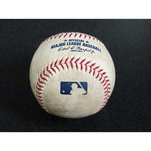 Seattle Mariners Game-Used Baseball: Pitcher - Justus Sheffield, Batter - Aristides Aquino - Single - Top 3, 9/10/19 vs. CIN
