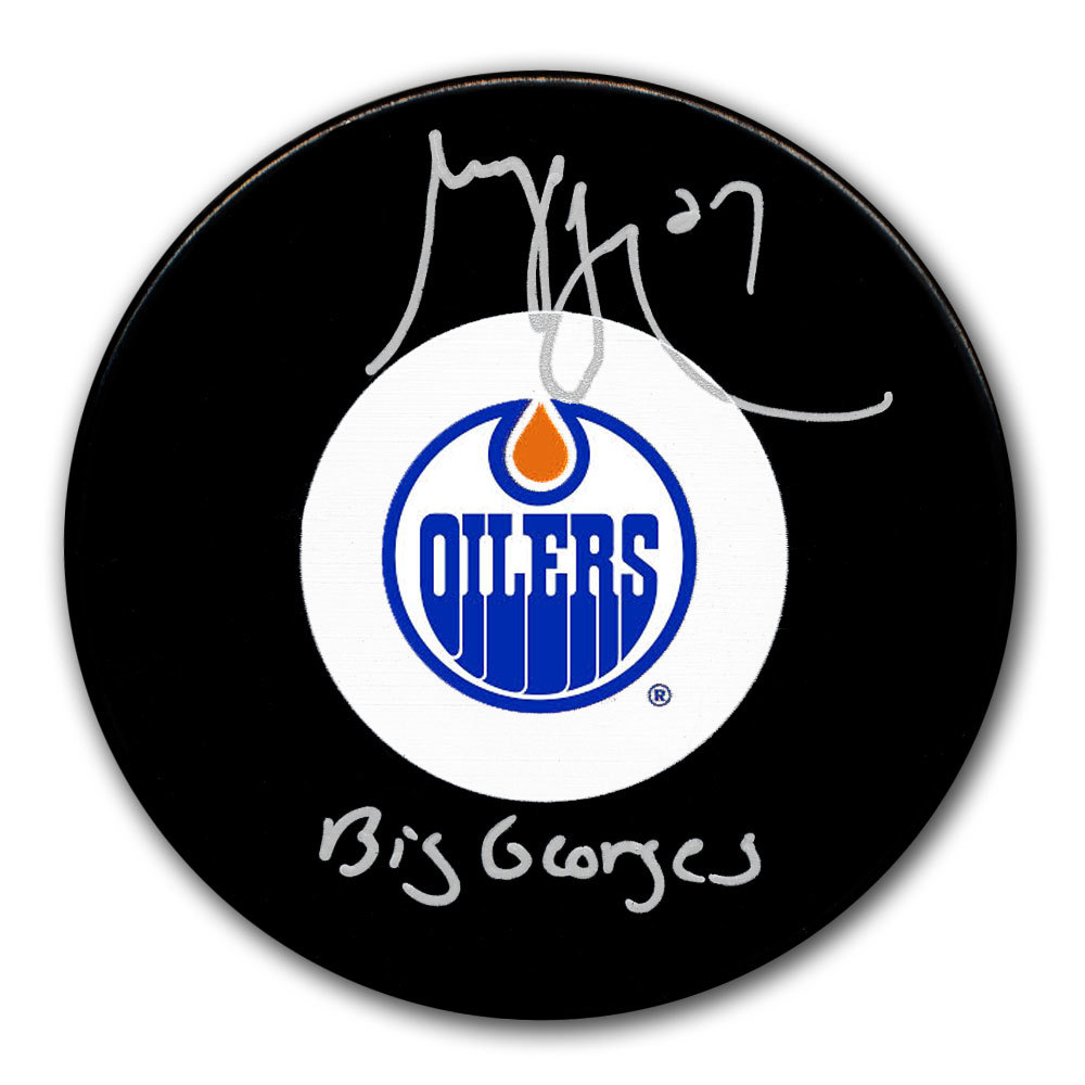 Georges Laraque Edmonton Oilers BIG GEORGES Autographed Puck