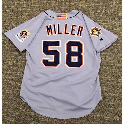 Photo of Matt Miller Clubhouse Issued Detroit Tigers #58 100 Season American League Charter Member Road Jersey (NOT MLB AUTHENTICATED)