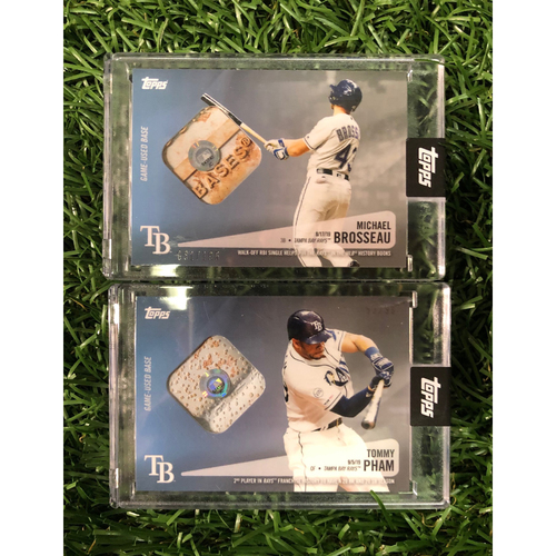 Photo of Game Used Base Relic Baseball Card: Michael Brosseau & Tommy Pham