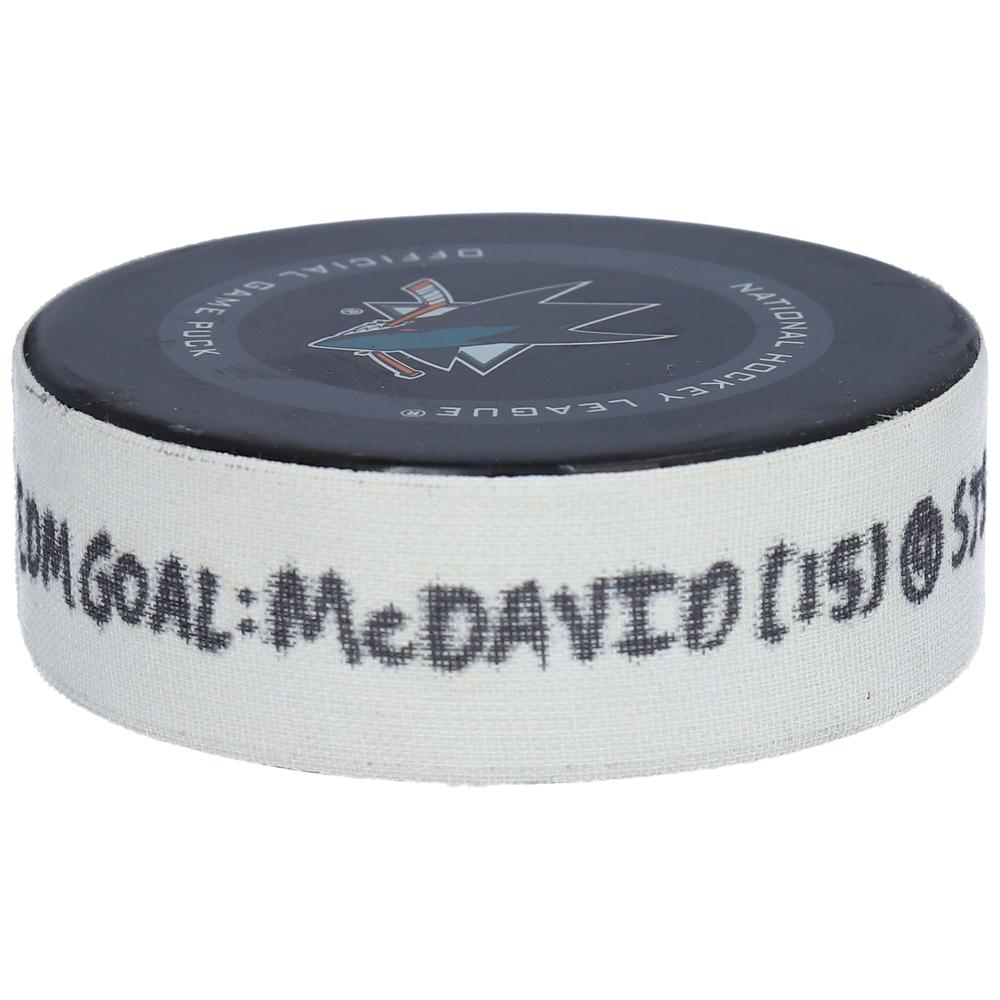 Connor McDavid Edmonton Oilers Game-Used Goal Puck from November 19, 2019 vs. San Jose Sharks