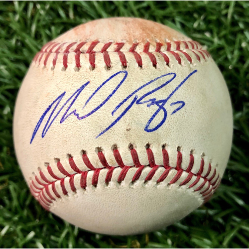 Photo of Rays Baseball Foundation: Game Used Autographed Baseball - Michael Perez MLB Debut - July 26, 2018 at BAL