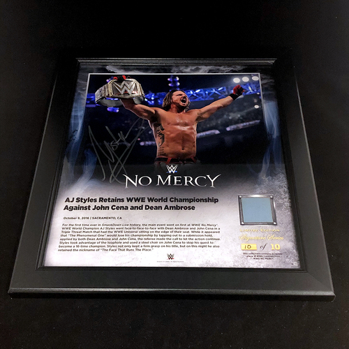 Photo of AJ Styles SIGNED No Mercy 2016 Signature Series Frame
