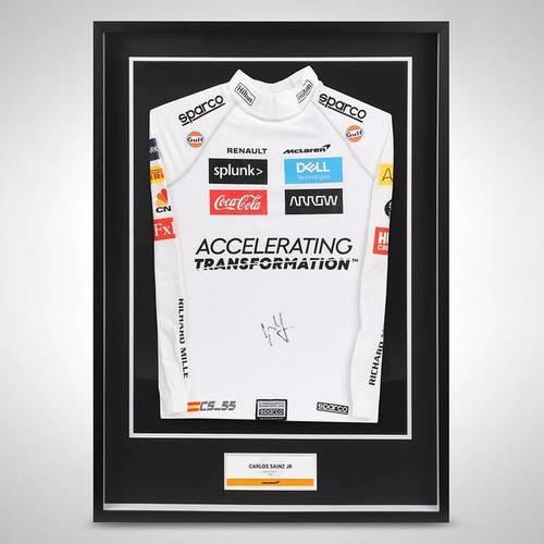 Photo of Carlos Sainz 2020 Framed Signed Official Replica Nomex