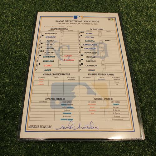 Game-Used Line-Up Card: KC @ DET - September 15, 2020