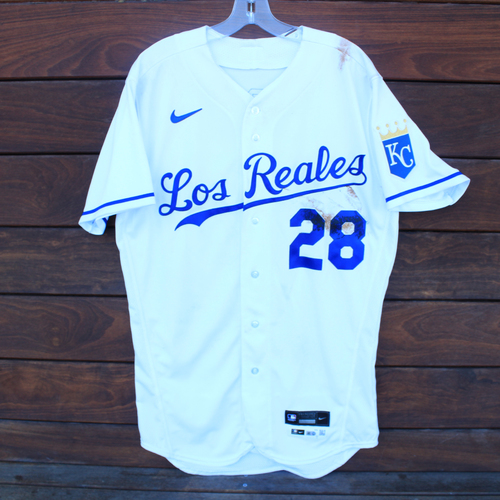 Photo of Game-Used Los Reales Jersey: Kyle Isbel #28 - 1 for 4 (Single) (SEA@KC 9/17/21) - Size 42
