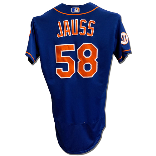 Photo of David Jauss #58 - Game Used Blue Alt. Home Jersey with Seaver Patch - Mets vs. Marlins - 9/28/21 - Game 2