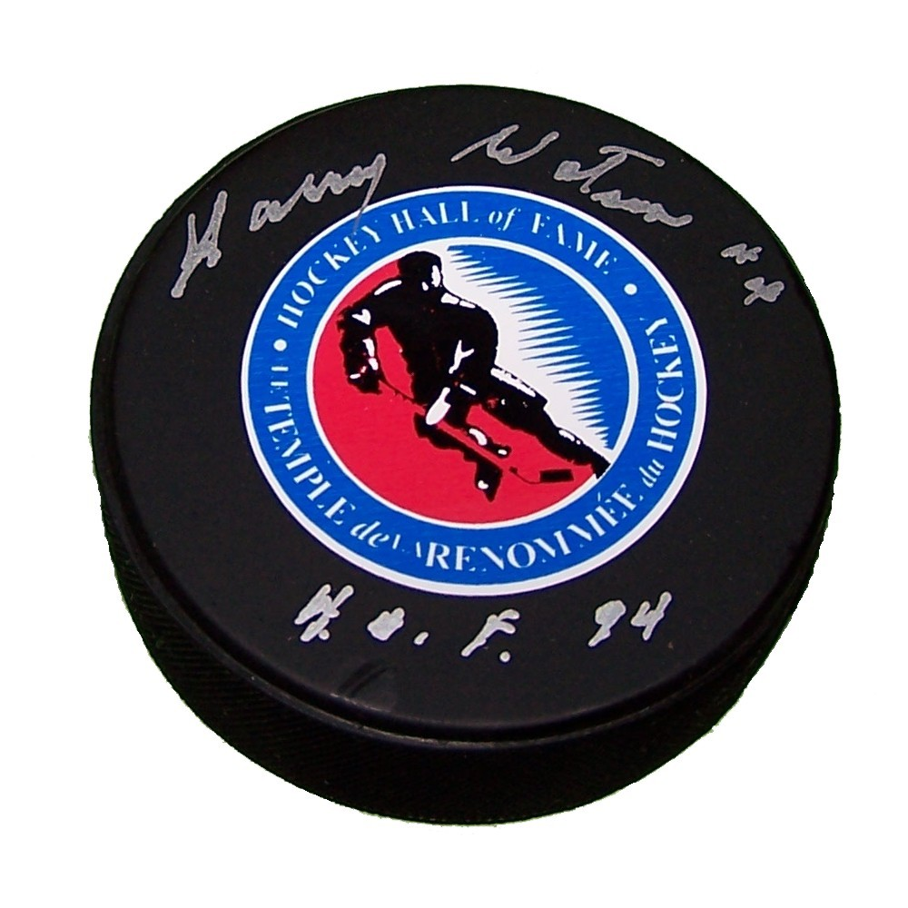 Harry Watson (deceased) Autographed Hockey Hall of Fame Puck