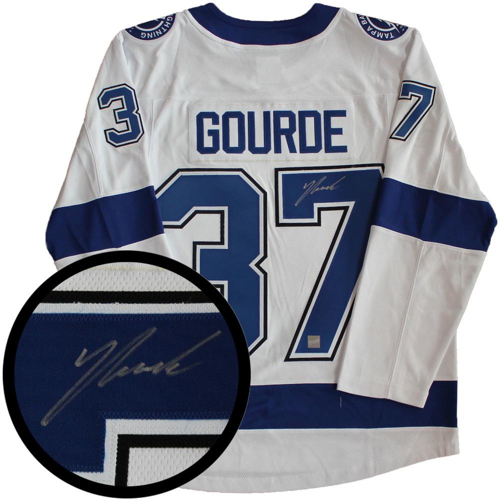 Yanni Gourde Signed Jersey Lightning Replica White 2017-2018 Fanatics