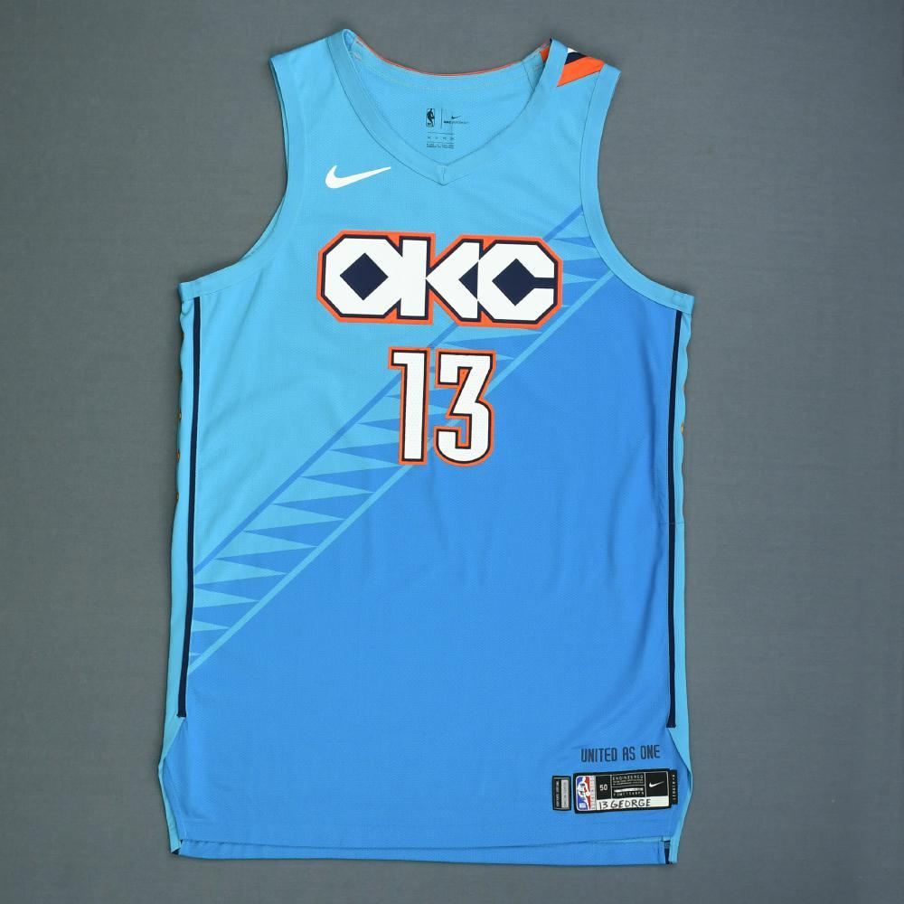 cf194e9dd9688 Paul George - Oklahoma City Thunder - Game-Worn City Edition Jersey -  Scored 35