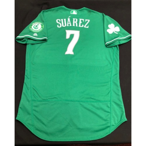 Photo of Eugenio Suarez -- Game-Used Jersey -- 2019 St. Patrick's Day