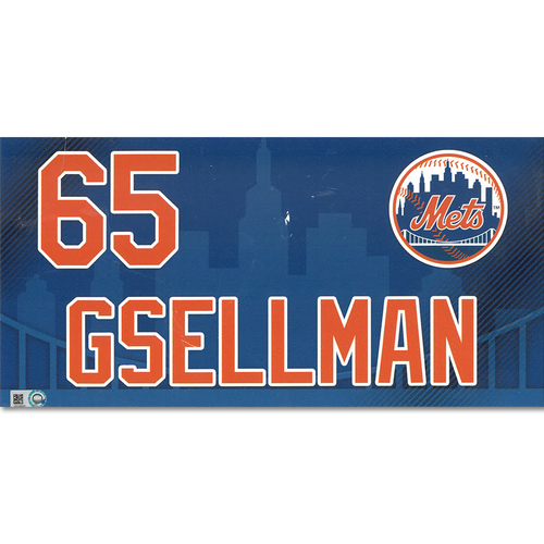 Robert Gsellman #65 - 2019 Game-Used Locker Nameplate - Mets vs. Nationals - 4/4/19